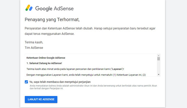 Lanjutkan Ke Google Adsense