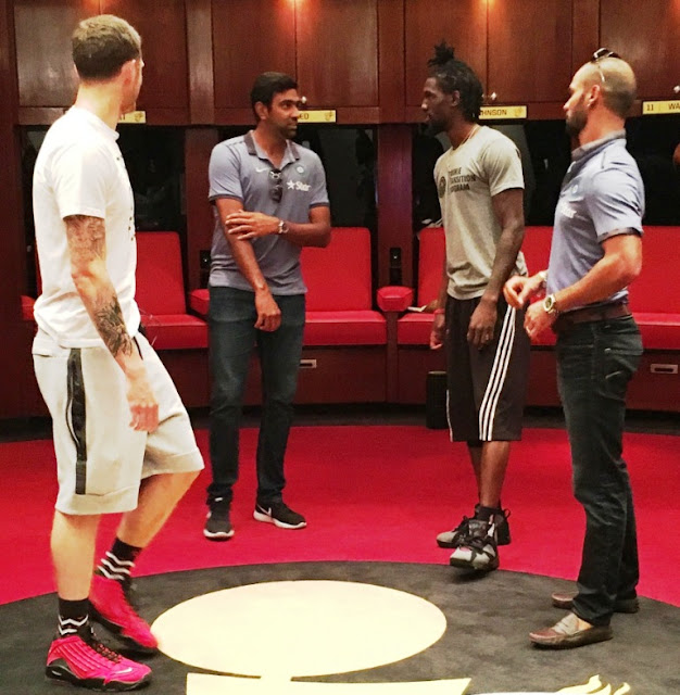 Picture 2: Ashwin and Briante Weber discussing Basket ball during the Indian players visit to Miami Heats in USA