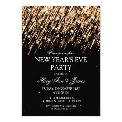 Gold Stars and Sparkles New Year's Eve Party Invitation