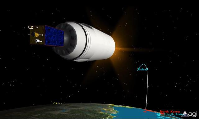 Hình ảnh minh họa cho thấy tên lửa Unha-3 và vệ tinh Kwangmyongsong-3 trên quỹ đạo tính trước vào tháng 4/2012. Hình ảnh: Analytical Graphics, Inc.
