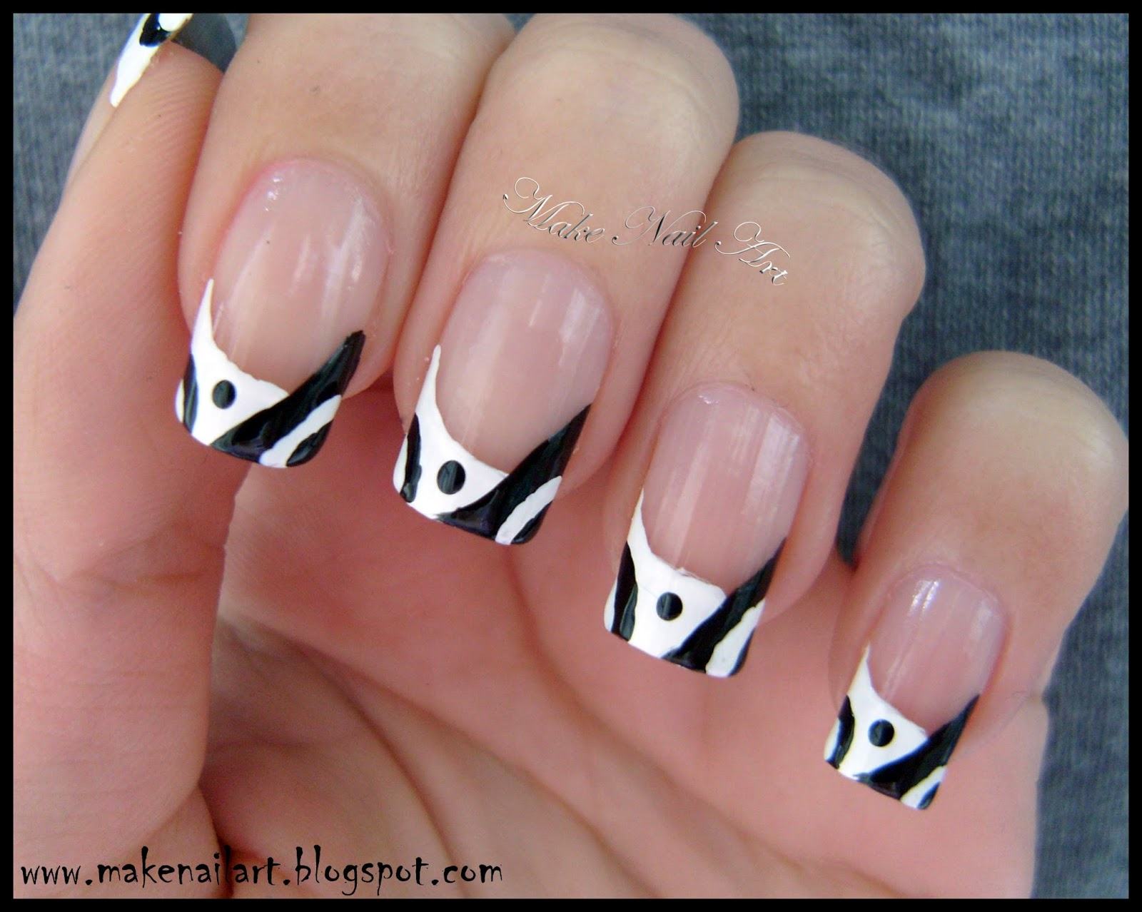 Black And White Abstract French Manicure Nail Art Tutorial
