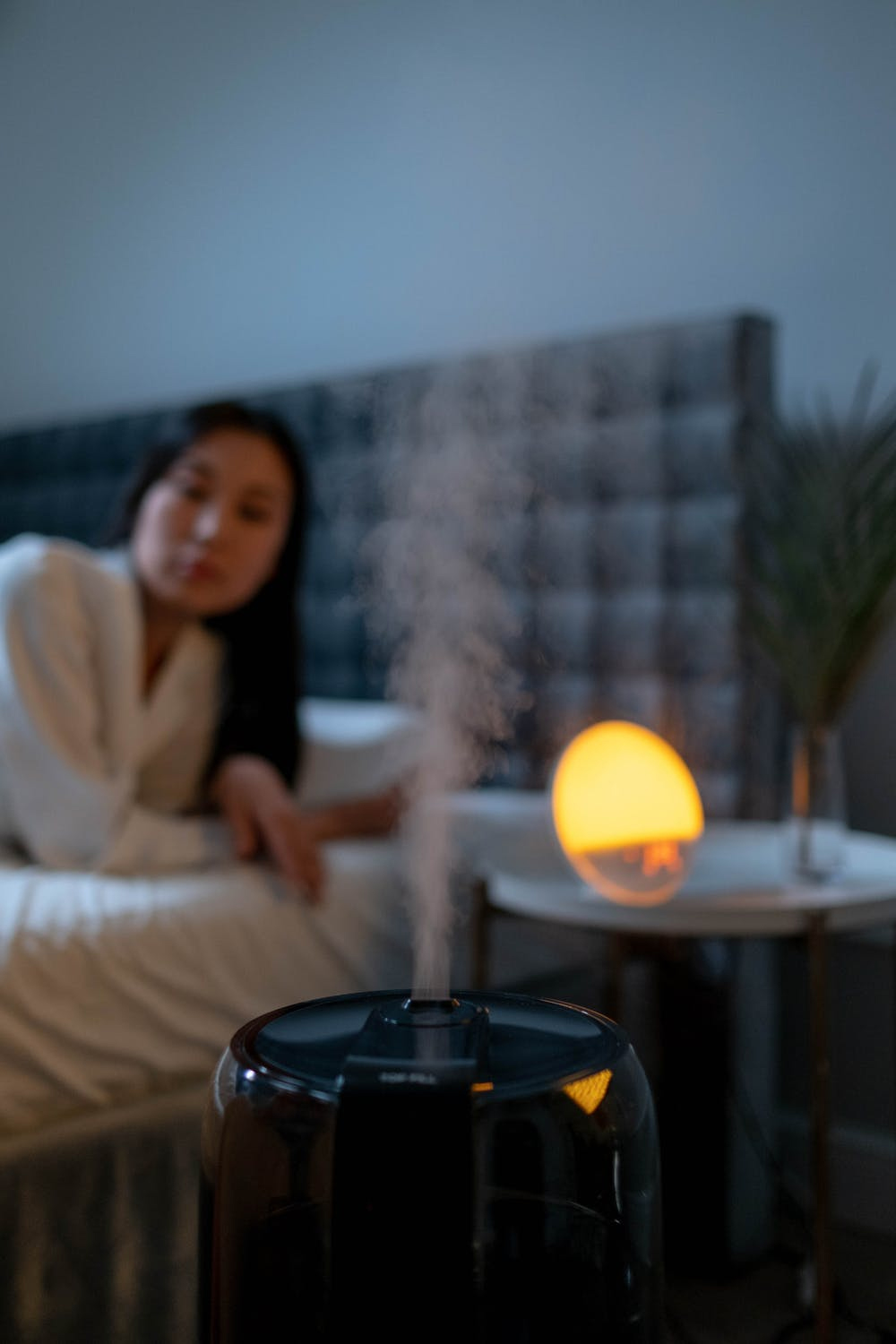 a picture of working humidifier with a woman in the background