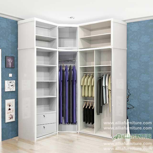 lemari pakaian sudut minimalis model dream