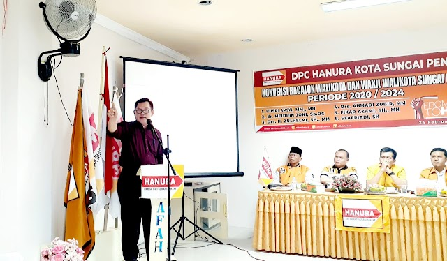 Dengan Lantang, Ahmadi Zubir Sampaikan Visi Msi di Hadapan Petinggi DPD Hanura