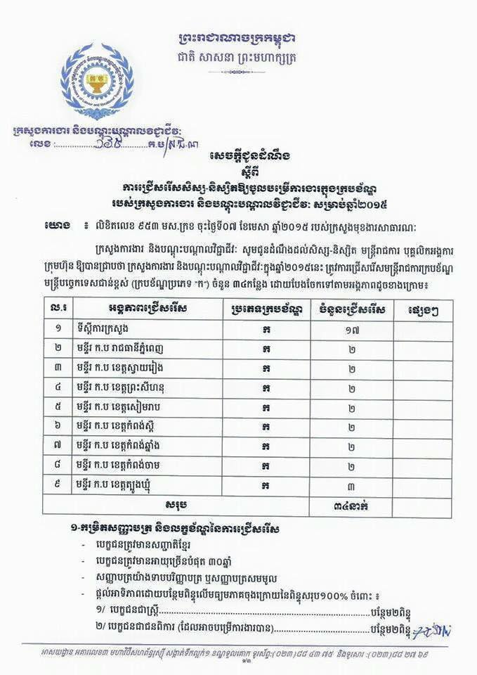 http://www.cambodiajobs.biz/2015/06/34-positions-ministry-of-labour.html