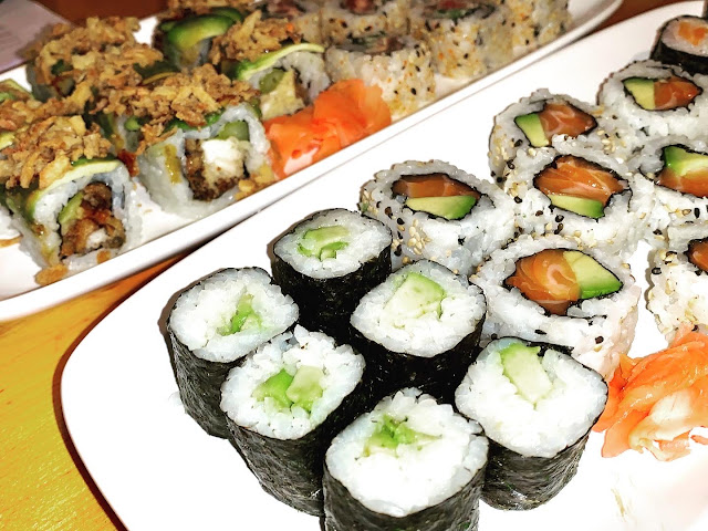 Cucumber maki and other sushi rolls