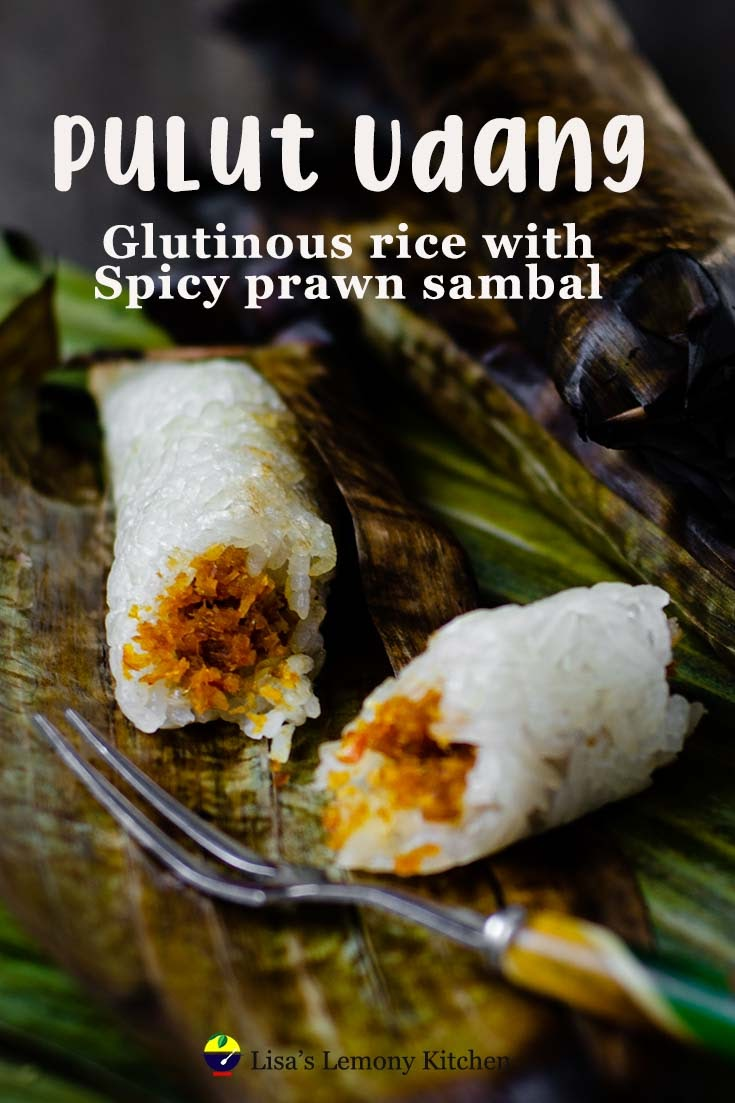 Pulut Udang literally translated is known as Charred Savoury Glutinous Rice. Basic ingredients are glutinous rice, coconut cream and spicy coconut filling. Wrapped in banana leaves and grilled on barbeque. Malaysian finger food of glutinous rice and spicy coconut filling