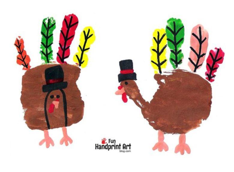 Handprint Turkeys Thanksgiving craft for kids