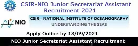 NIO Junior Secretariat Assistant Recruitment 2021