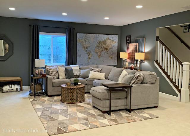 Westchester Gray paint basement family room