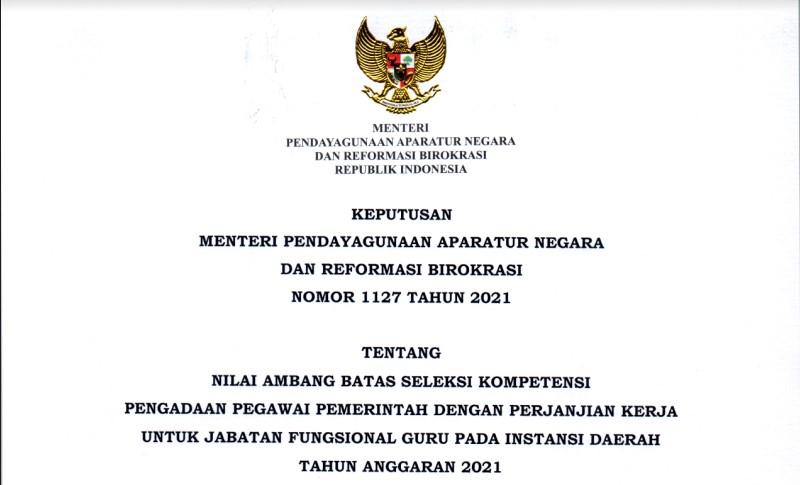 Download KEPMENPANRB Nomor 1127 Tahun 2021 Tentang Nilai Ambang Batas (Passing Grade) PPPK Guru