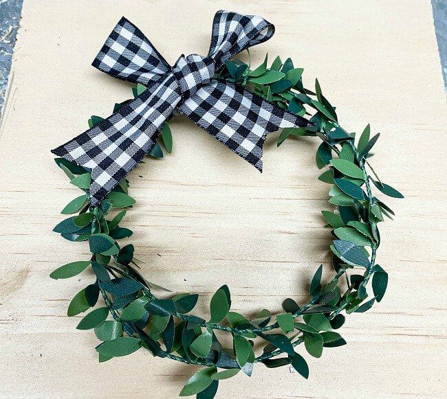 Small faux boxwood wreath for NOEL sign
