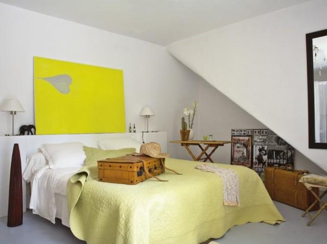 Dormitorio Matrimonial de color Amarillo y Blanco  Decorar tu Habitacin