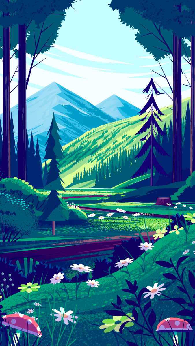 forest illustration beautiful landscape wallpaper phone