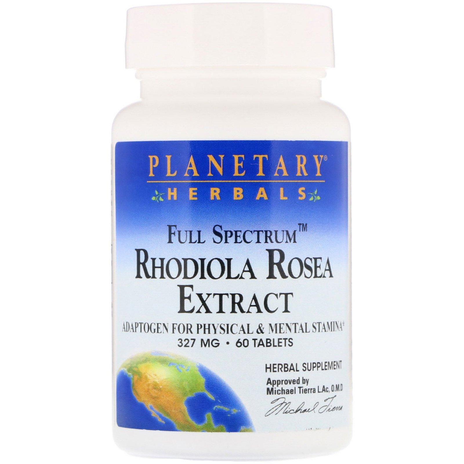 Planetary Herbals, экстракт родиолы розовой, полного спектра, 327 мг, 60 таблеток