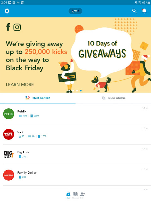 Earn gift cards with Shopkick