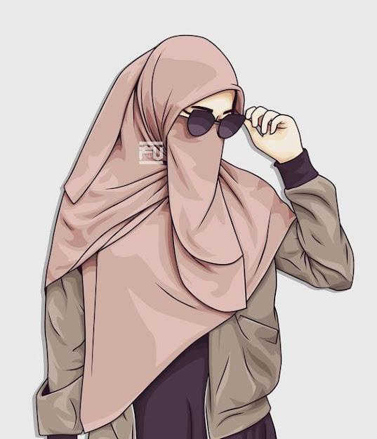 Gambar kartun muslimah bercadar dan berkacamata