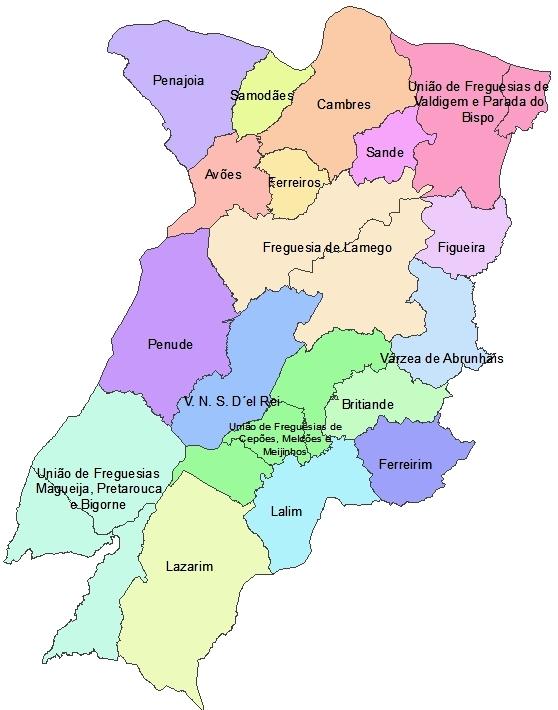 lamego no mapa História e Estórias de Lamego: Lamego e as suas Freguesias lamego no mapa