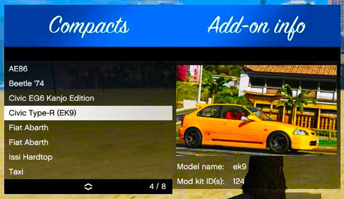 Download GTA V Cars Add-On Vehicle Spawner v1.4