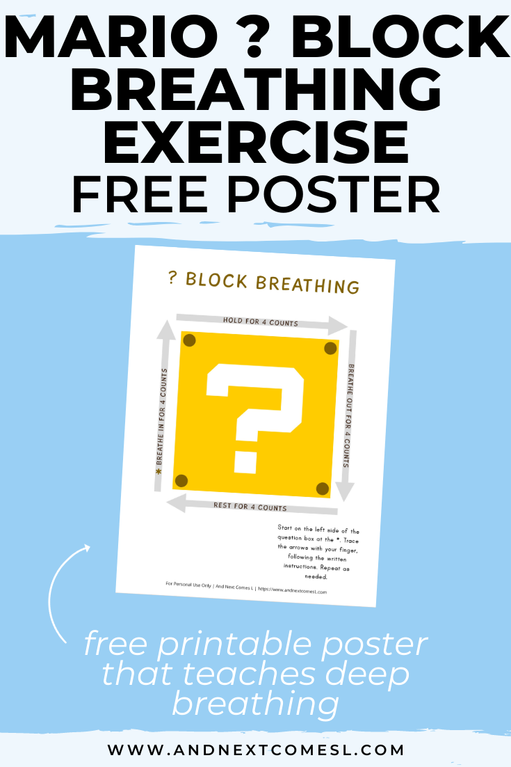 Free printable Mario themed deep breathing exercise for kids that's based on the square breathing technique