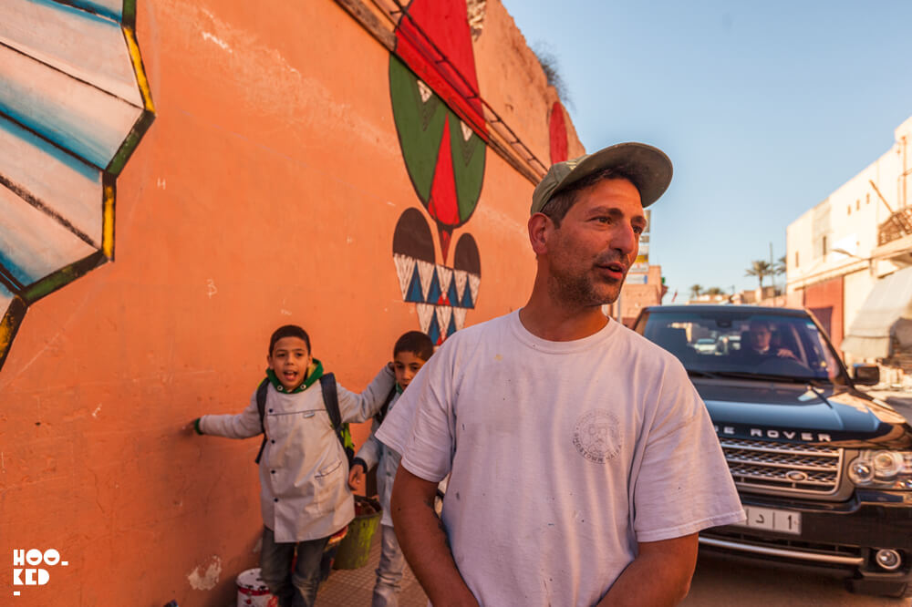 Street Artist Giacomo Bufarini aka RUN in Marrakech, Morocco