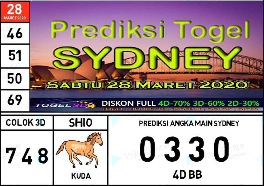 Prediksi Sydney Sabtu 28 Maret 2020 - Prediksi Togel SD