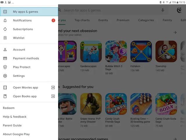 tool menu perlindungan Google Play