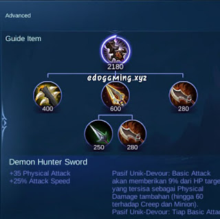penjelasan lengkap item mobile legends item demon hunter sword