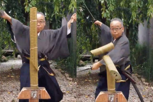 Ngeri! Kakek Ini Dapat Memotong Tatami ala Samurai dengan Sangat Cepat dan Bikin Netizen Melongo!