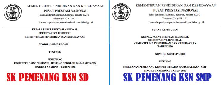 Perhelatan KSN Kemendikbud resmi ditutup tanggal  INI SK DAN DAFTAR NAMA PEMENANG (JUARA) KSN SD DAN SMP TAHUN 2020