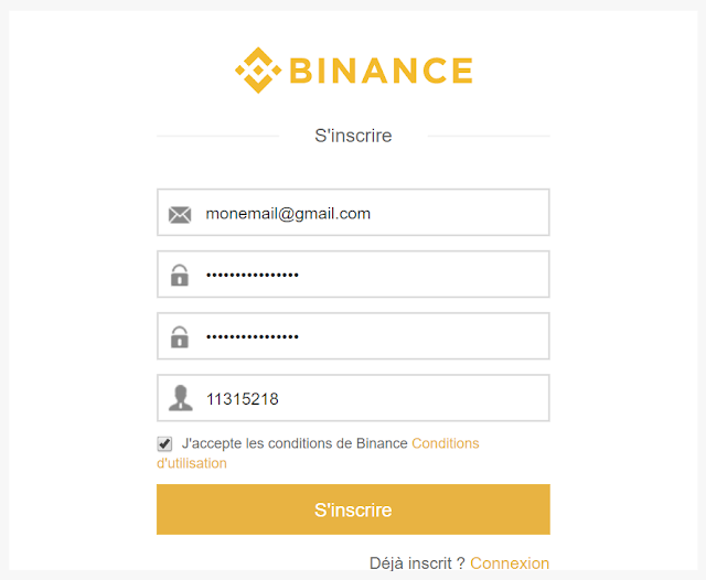 formulaire inscription Binance
