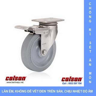 Bánh xe cao su càng bánh xe inox 304 | 2-3356SS-444-BRK4 | www.banhxepu.net