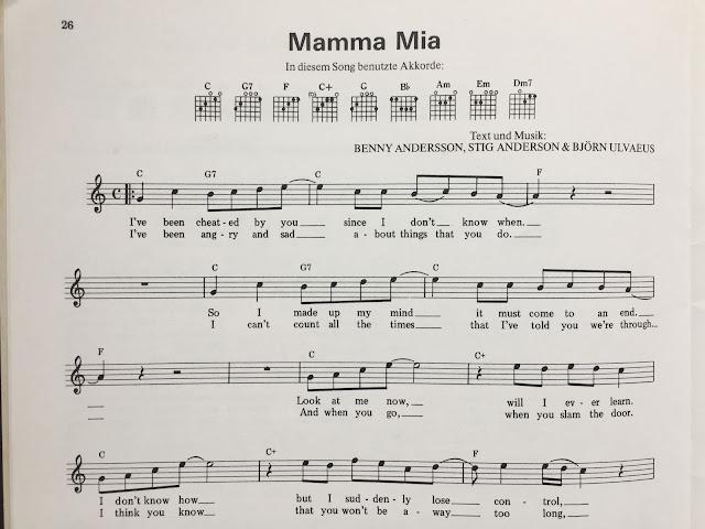 Noten des Songs Mamma mia