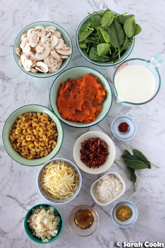 Fully Loaded Sweet Potato Mac & Cheese ingredients