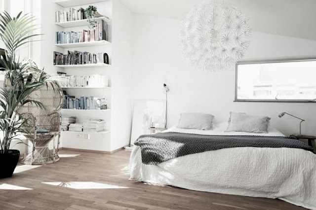 Dekorasi kamar skandinavia yang lega