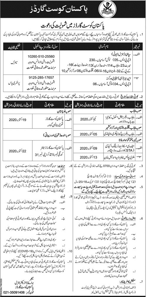 Pakistan Coast Guards Jobs For General Duty Constable 2020 | 236 Seats
