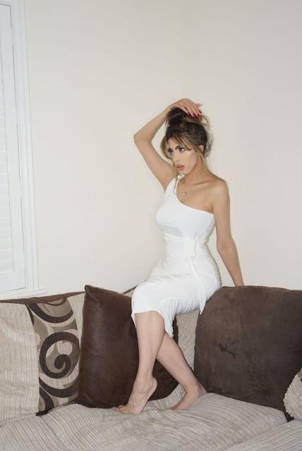 Femme Luxe White One Shoulder Slinky dress in model Dylan