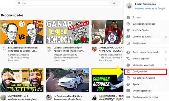 Configurar URL de mi canal de youtube