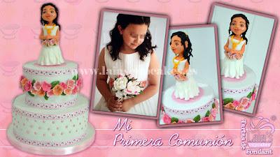 tarta personalizada de fondant modelado flores vestido comunión Laia's Cupcakes Puerto Sagunto