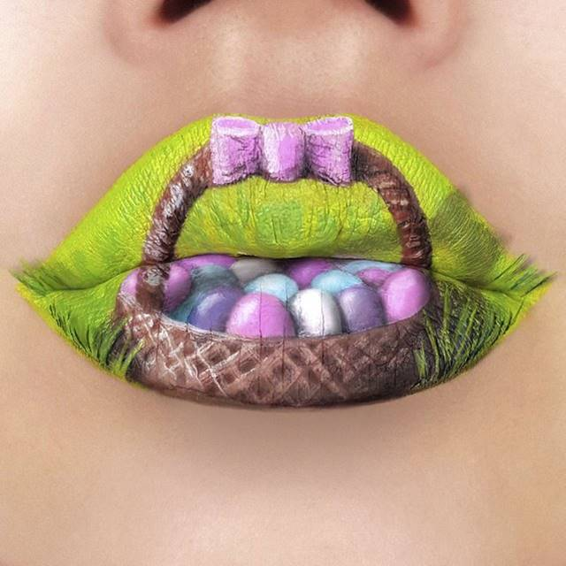 The work of Tutushka, depicting on her lips a basket full of Easter eggs