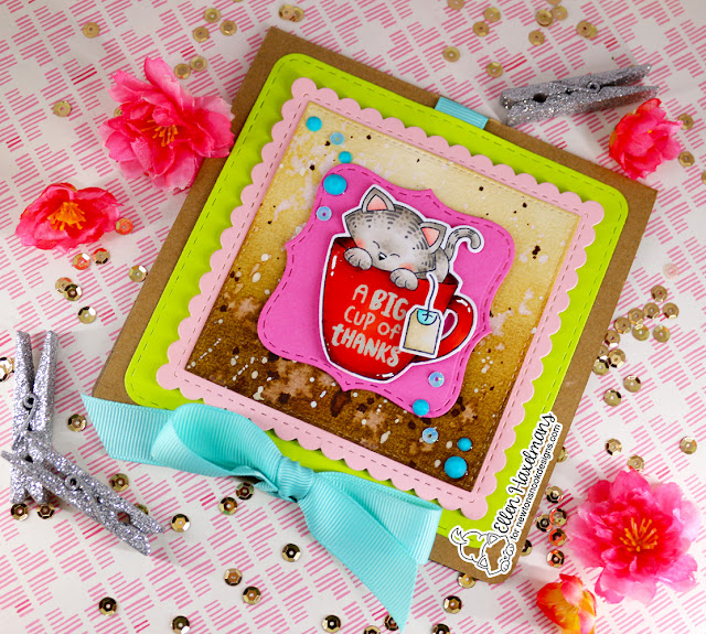 Big Cup of Thanks card by Ellen Haxelmans | Newton's Mug Stamp Set and Frames Squared Die Set by Newton's Nook Designs