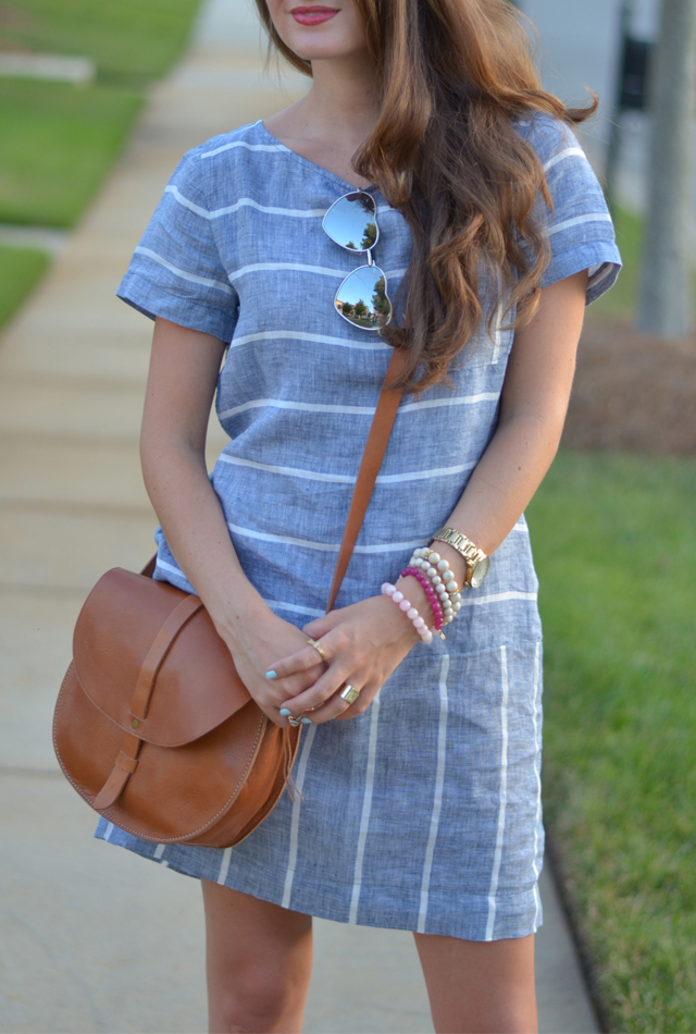 Southern Curls Amp Pearls Chambray Dress