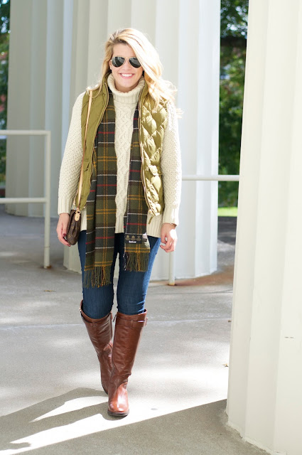 525 America Sweater, J.Crew Excursion Vest and Tory Burch Riding Boots.
