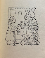A caricature of Bluebeard handing the keys to his wife.