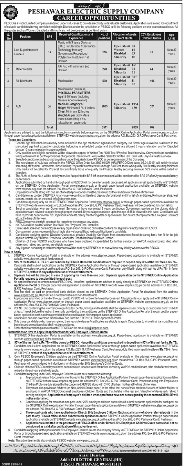 Jobs in Peshawar Electric Supply Company PESCO