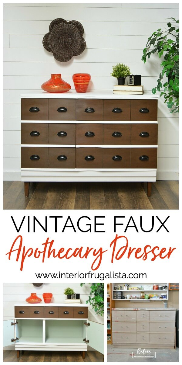 Vintage Faux Apothecary Dresser Before and After