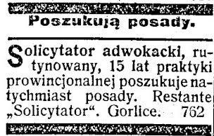 ogłoszenie Gorlice 1909