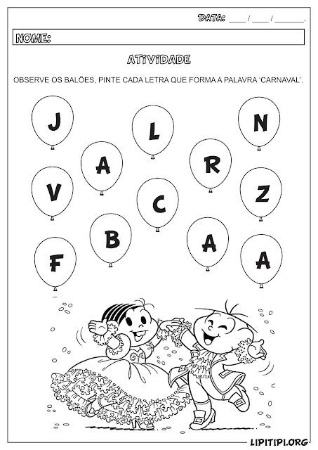 Atividade Linguagem Carnaval Turma da Mônica