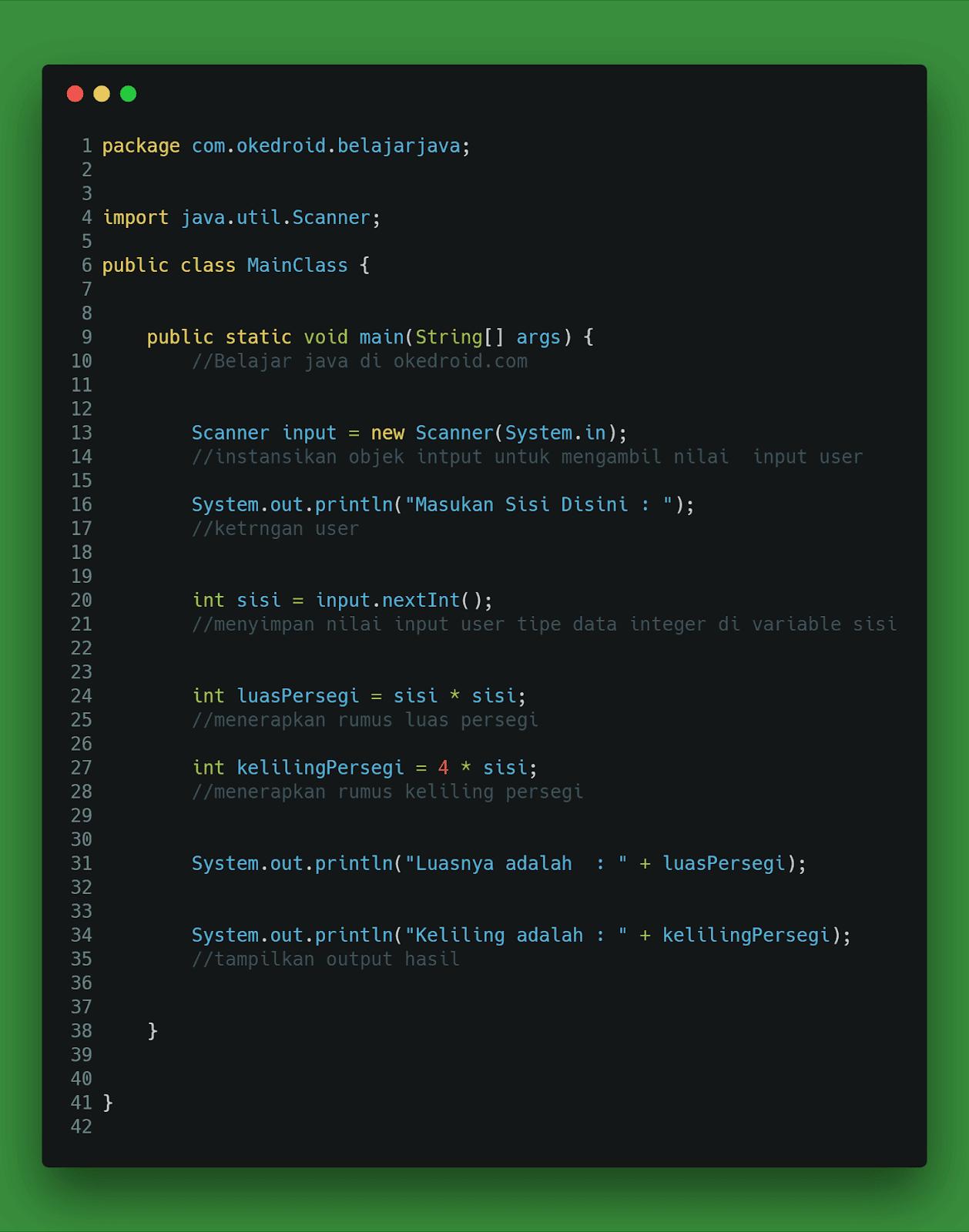 Contoh Code Program Menghitung Luas dan Keliling Persegi di Java