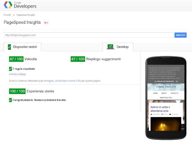 Ottimi risultati di valutazione da parte di Google Pagespeed Insights